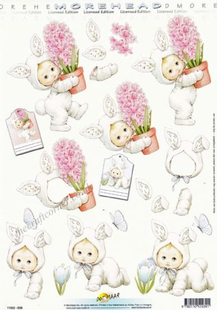 Morehead Child Dressed as a Bunny With Spring Flowers 3D Decoupage Sheet